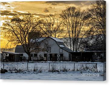Winter Barn At Sunset - Provo - Utah Canvas Print by Gary Whitton