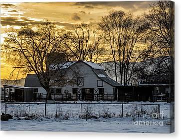Winter Barn At Sunset - Provo - Utah Canvas Print by Gary Whitton