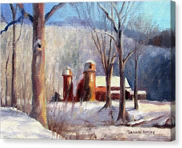 Snowy Day Canvas Print - Winter Barn by Bonnie Mason