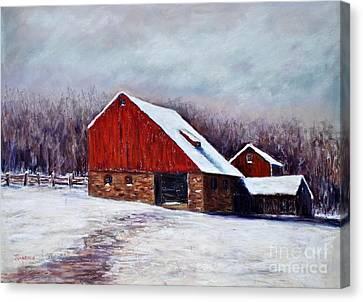 Winter Barn Bucks County Pennsylvania Canvas Print by Joyce A Guariglia