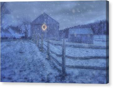 Winter Barn In Snow - Vermont Canvas Print by Joann Vitali
