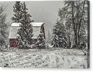 Barn Storm Canvas Print - Winter Barn by Rick Mann