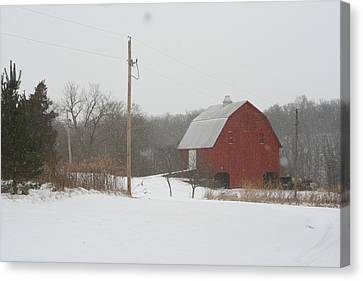 Winter Barn Scene  Canvas Print by Eric Irion