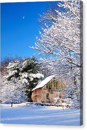 Winter Barn Scene-warren Ct Canvas Print