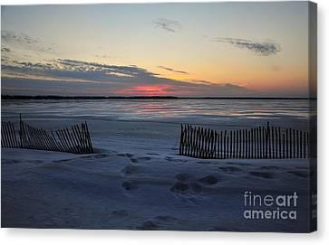Winter Beach At Dusk Canvas Print by Terri Gostola