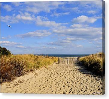 Canvas Print featuring the photograph Winter Beach Sky by JoAnn Lense