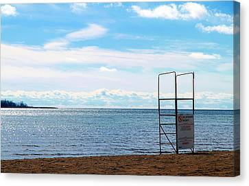 Canvas Print featuring the photograph Winter Beach by Valentino Visentini