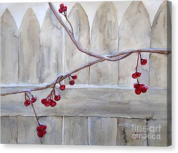Winter Berries Watercolor Canvas Print