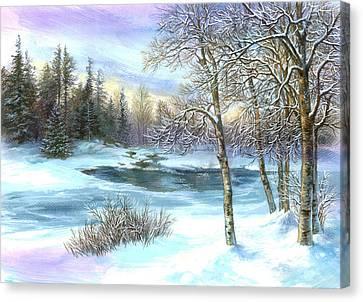 Winter Birches Canvas Print by Zorina Baldescu