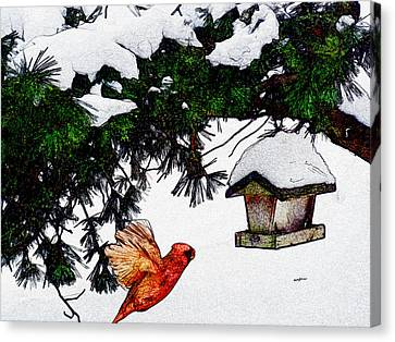 Winter Birdfeeder Canvas Print by Anthony Caruso