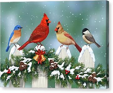 Winter Birds And Christmas Garland Canvas Print