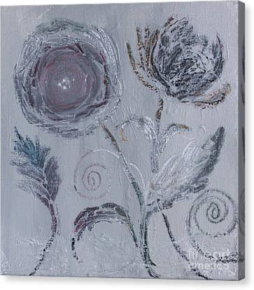 Canvas Print featuring the painting Winter Blooms by Robin Maria Pedrero