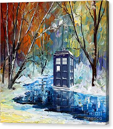 Winter Blue Phone Box Canvas Print by Three Second