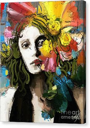 Flower Blooms Canvas Print - Winter Blues by Carrie Joy Byrnes
