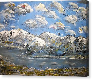 Canvas Print featuring the painting Winter Blues by Dan Whittemore