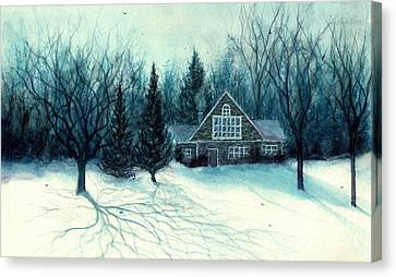 Winter Blues - Stone Chalet Cabin Canvas Print by Janine Riley