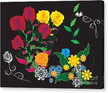 Canvas Print featuring the digital art Winter Bouquet by Kim Prowse