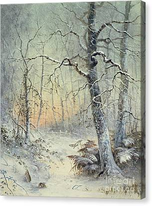 White Canvas Print - Winter Breakfast by Joseph Farquharson