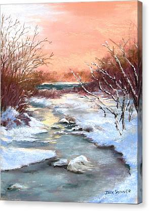 Canvas Print featuring the painting Winter Brook by Jack Skinner