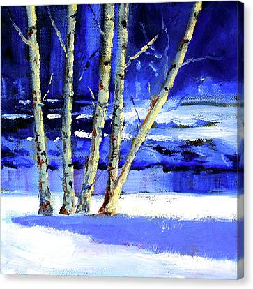 Canvas Print featuring the painting Winter By The River by Nancy Merkle