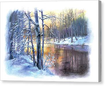 Winter By The River Canvas Print by Zorina Baldescu