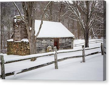 Winter Cabin Canvas Print by Bill Wakeley
