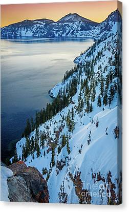 Wizard Island Canvas Print - Winter Caldera by Inge Johnsson