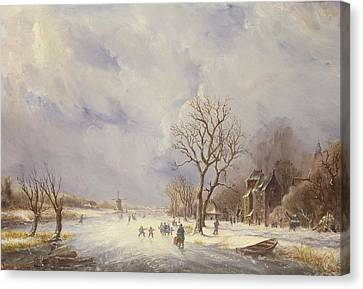 Winter Canal Scene Canvas Print by Jan Lynn