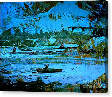 Fantasy Landscape With Figure Canvas Print - Winter Canoes by Nancy Kane Chapman