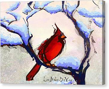 Winter Cardinal Canvas Print by Lee Baker DeVore