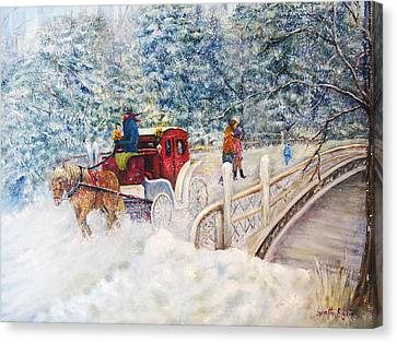 Winter Carriage In Central Park Canvas Print
