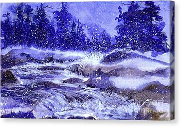 Winter Cascade Canvas Print by Pat Crowther