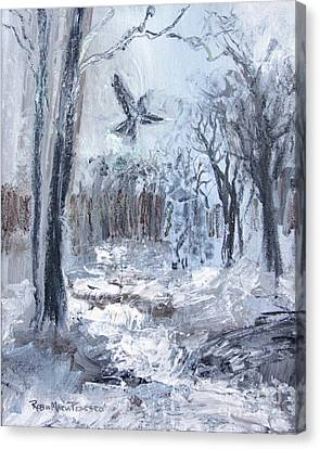 Canvas Print featuring the painting Winter Caws by Robin Maria Pedrero