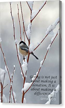 Canvas Print featuring the photograph Winter Chickadee Giving by Diane E Berry