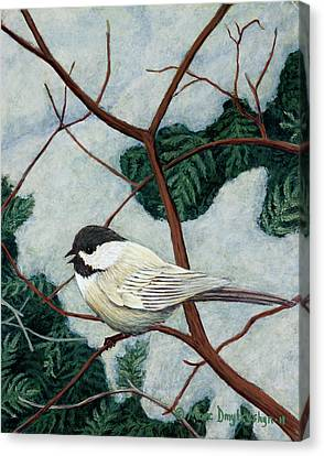 Winter Chickadee Canvas Print