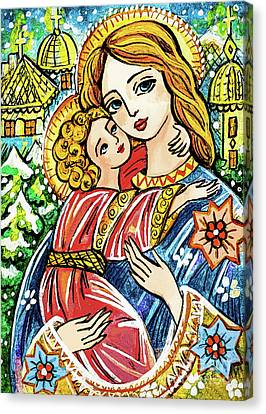 Canvas Print featuring the painting Winter Church by Eva Campbell