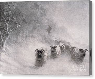 Winter Comes With A Stormy Blast Canvas Print by Joseph Farquharson