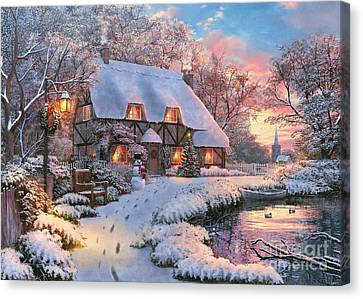 Benches Canvas Print - Winter Cottage by 2015, Dominic Davison, Licensed by MGL, www.mgllicensing.com.