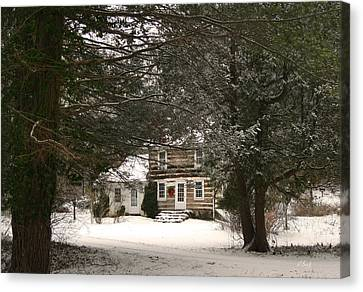 Winter Cottage Canvas Print by Gordon Beck