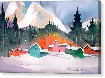 Canvas Print featuring the painting Winter Cottages by Yolanda Koh
