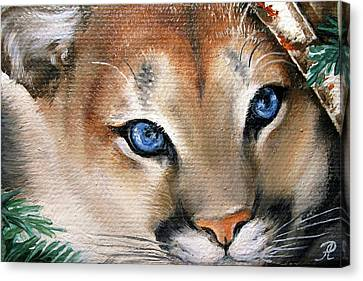 Winter Cougar Canvas Print by Larissa Prince