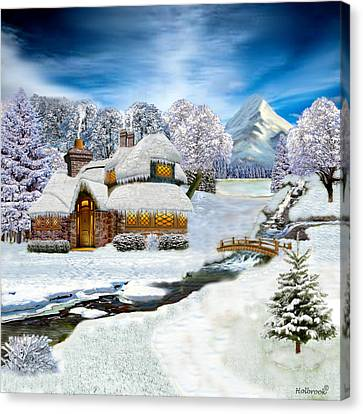 Winter Country Cottage Canvas Print