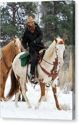 Cattle Drives Canvas Print - Winter Cowboy by Mike Dawson