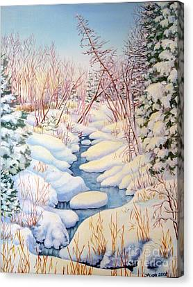Canvas Print featuring the painting Winter Creek 1  by Inese Poga