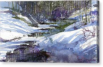 Winter Creekbed Canvas Print by Andrew King