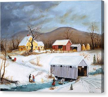 Winter Crossing Canvas Print by Joseph Holodook