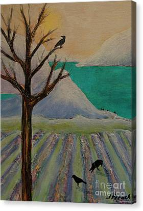 Winter Crows Canvas Print by Jeanette French