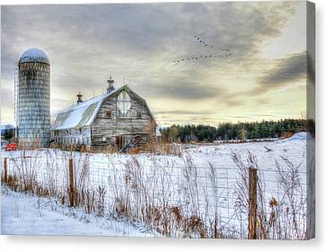 Canvas Print featuring the digital art Winter Days In Vermont by Sharon Batdorf