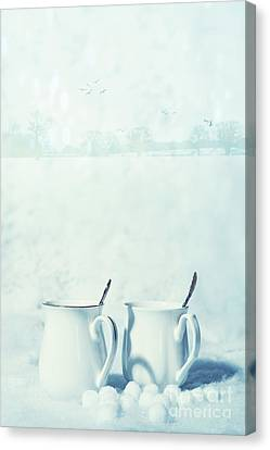 Snow Scene Canvas Print - Winter Drinks In Snow by Amanda Elwell