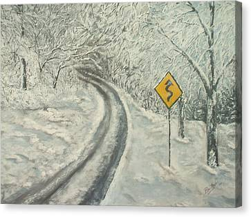 Winter Driving Canvas Print by Bev  Neely